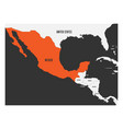 mexico orange marked in political map of central vector image