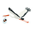 a stork carries a bundle with a bain its beak vector image