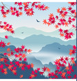 autumn landscape with foggy mountains and vector image vector image
