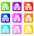 bank building icons 9 set vector image vector image