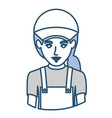 blue silhouette with half body of delivery woman vector image