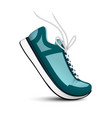 blue sneakers with white shoelaces vector image vector image