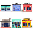 building store cafe set flat style vector image vector image