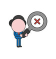 businessman character holding magnifying glass vector image vector image