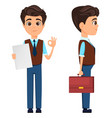 businessman showing ok sign and holding briefcase vector image