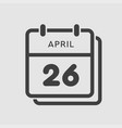 calendar day 26 april days year vector image vector image