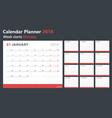 calendar planner 2018 week starts monday vector image vector image