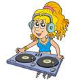 cartoon dj girl vector image
