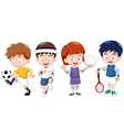 Cartoon kids sports characters vector image vector image