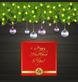 christmas tree chrismas ball garland gold bow vector image