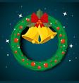 circle garland christmas with bells and ribbon bow vector image