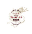 coconut oil label with type design over hand drawn vector image