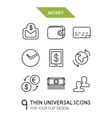 Collection of money finance trendy thin line icons vector image