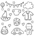 collection stock of baby element doodles vector image vector image