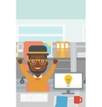 Creative excited man having business idea vector image vector image