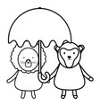 cute lion and monkey with umbrella childish vector image