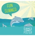 Cute summer poster - Dolphins jumping in the ocean vector image vector image