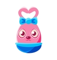 Easter Egg Shaped Pink Easter Bunny With Bow vector image vector image