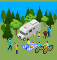 family picnic isometric composition vector image vector image