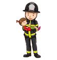Fireman and girl vector image vector image