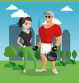 fitness couple at park cartoon vector image vector image