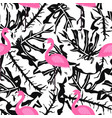 flamingo pattern on black and white vector image