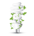 Fluorescent lightbulb with plant vector image