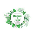 green leaves nature style wedding card design vector image vector image