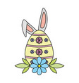 happy easter egg ears flower vector image vector image