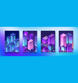 isometric set neon night ultraviolet module city vector image vector image