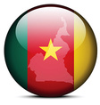 Map on flag button of Republic of Cameroon vector image vector image