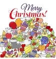 Merry christmas set of xmas colorful pattern vector image vector image