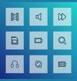 multimedia icons line style set with sd card mute vector image vector image