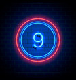 neon city font sign number 9 vector image vector image