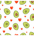 pattern with avocado and heart vector image vector image