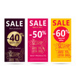 sale flyers set with shopping basket full food vector image vector image