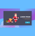 santa claus pulling trolley cart with gift present vector image vector image