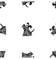 seamless pattern sketches cartoon black vector image