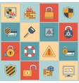 Security icons set flat line vector image vector image