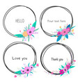 set beautiful round frames with flower vector image vector image