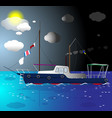 ship floating on the sea vector image vector image