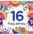 sixteen 16 year birthday greeting card number vector image