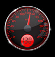 speedometer round black and red gauge with chrome vector image vector image