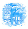 tiki mask on watercolor background vector image vector image