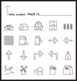 Travel Element Line Icon Set 13Country thin icons vector image vector image