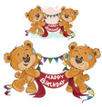 two brown teddy bears holding in their paws vector image vector image