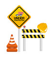 under construction barrier road sign cone warning vector image