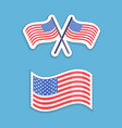 Usa flags patriotic symbol set