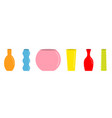 vase set cute colorful icon line ceramic pottery vector image vector image