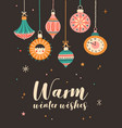 warm winter wishes greeting cards template vector image